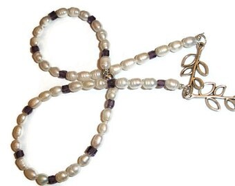 Pearl Crystal Necklace White Freshwater Pearl Necklace Purple Crystal Pearl Necklace Pearl Necklace 19 inch pearl necklace purple crystals