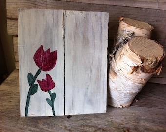 Tulips on reclaimed barn wood art