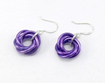 Purple Mobius Chainmaille Earrings - Purple Chainmaille - Mobius Chainmaille - Chainmaille Jewelry - Chainmail Earrings - Mobius Earrings