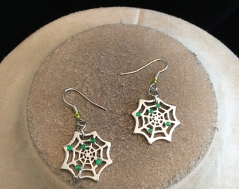 Vintage Green Rhinestone Spider Web Halloween Pierced Dangle Earrings