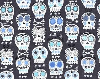 Michael Miller fabric - Charcoal - Bonehead - 100% Cotton, FQ, 1/2 Mtr, Mtr