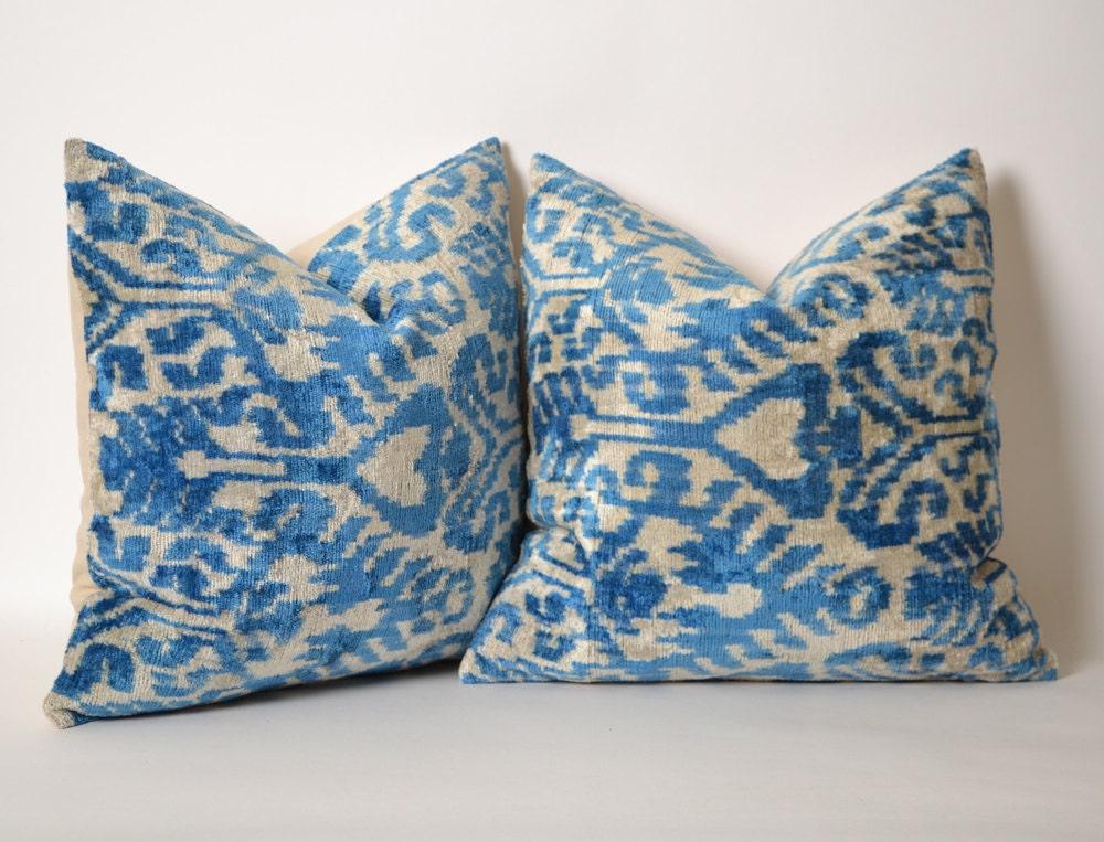 SET of 2 Ikat Pillow Covers Blue White Pillow Decorative