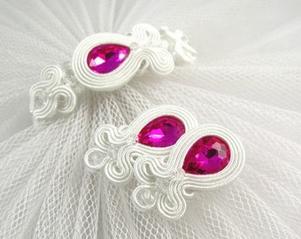 SAY YES - Wedding soutache jewelry set. White fuksia soutache earrings and bracelet set. white bridal soutache earrings