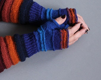 hand-knitted hand warmers/ Colourful hand warmers/ arm warmers/ long fingerless gloves/ marine blue, orange, blue color/ made from wool