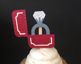 Ring in Box Engagement/Bridal Shower Cupcake Topper