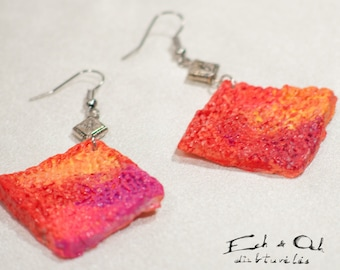 Eco-friendly recycled paper papier mashe dangle earrings