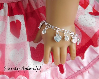Heart Charm Bracelet for 18 inch girl dolls, American made accessory, sweet Valentine arm candy, dainty holiday jewelry, Birthday Party Gift