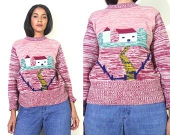 Vintage 70s House Village Scene Novelty Space Dye Knit Sweater Hippie