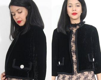 Vintage 50s 60s Black Velvet Cropped Dress Jacket Rhinestone Buttons Glam Party