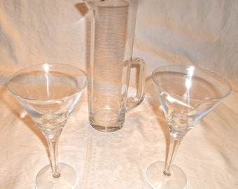 Vintage Handblown Martini Pitcher and Set of Two Glasses