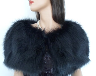 black fur capelet, black fur stole, fake fur wrap, faux fur shrug, shawl, stole