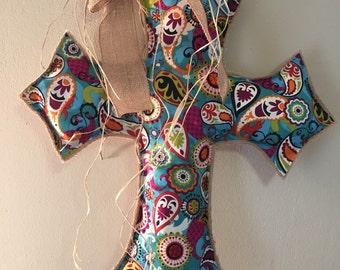 Teal Paisley Cross Burlap Door Hanger