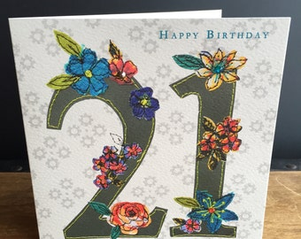 Age 21-Greeting Card- handfinished