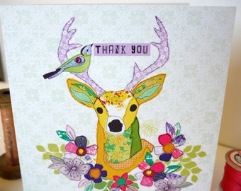Stag-Thank you- Greeting Card- handfinished
