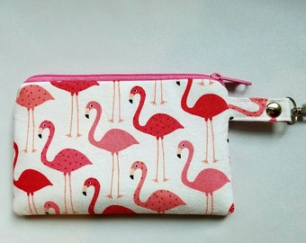 Zipper Pouch, Coin Purse, Credit Card Holder, Phone Holder, Pink Flamingos, Clip on Zipper Pouch, Nylon Liner, Lobster Clip.