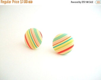 CLEARANCE Fabric Covered Button Earrings, Striped Earrings, Fabric Earrings, Mod Earrings, Post Earrings, Round Earrings, Pink and Yellow, P