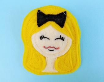 Felt Girl Brooch - Pin - Gift - Yellow Blonde Hair - Black Bow - Alice in Wonderland