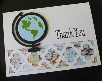 Map and Globe Thank You Card