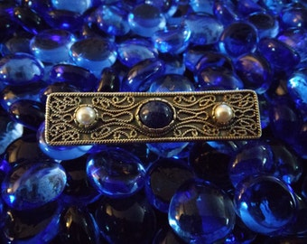 Pearl and Lapis Brooch