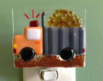 Dump Truck, Kid's, Fused Glass, Boy's, Big Boy, Contractor, Construction, Night Light, Nightlight, Nite Lite, Night Lite, Wall Light