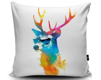Stag Cushion Deer Cushion Cover Summer Stag Decorative Cushion Cool Reindeer Pillow, 45cm/60cm, 18inch/23.6inch Faux Suede Cushion