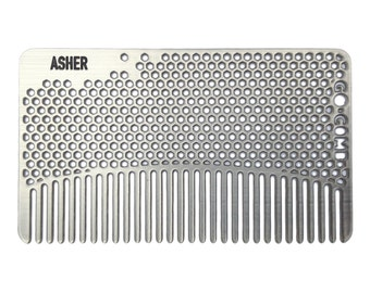 Personalized Stainless Steel Fine Tooth Hair Comb - Wallet & Travel Size  - GoComb