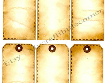 Vintage tags faux stitching Digital download x 6