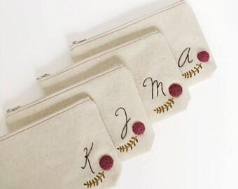 Set of 4 Monogram Cosmetic Bag, Personalized Bridesmaid Gift, Custom Makeup Bag, Initial