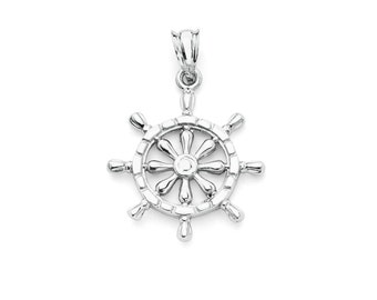 Sterling Silver Ships Helm, Ships Wheel, Silver Helm, Silver Pendant, Helm Pendant, Sailor Pendant, Sailor Jewelry, Helm, Wheel, Sailor