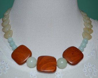 Wood Squares with light colored beads