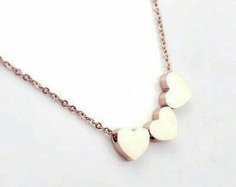 Gold Triple Heart Charm Necklace