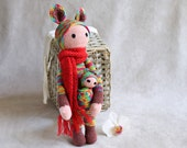 Kangaroo Kira doll, Lalylala inspired doll, rainbow and red amigurumi, birthday gift, kids gift idea, Made to order