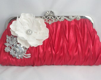 Red Evening Clutch, Red Valentines Day Purse, Red Bridesmaid Wedding Handbag, Red and White Clutch, Red Satin Handbag, White Flower Clutch
