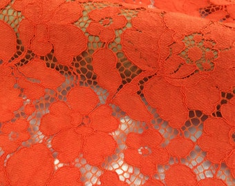 Orange Red Floral Lace- Floral Lace Fabric - Floral Orange Red Lace  - Orange Red Lace - L122