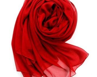 Red Chiffon Scarf - Firebrick Chiffon Scarf - PS74
