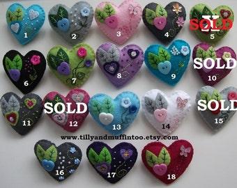 Handmade Felt Heart Brooch/Pin. 14 To Choose From.Party Favor,Wedding Favor.Stocking Stuffer/Filler.Secret Santa Gift.