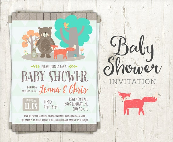 Woodland Creatures Baby Shower Invitation  Digital Baby Shower Invite