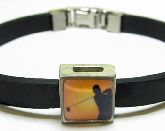 Sport Golfer Link With Choice Of Colored Band Charm Bracelet