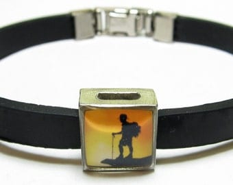 Hiking Silhouette Link With Choice Of Colored Band Charm Bracelet