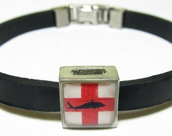 Military Medevac Link With Choice Of Colored Band Charm Bracelet