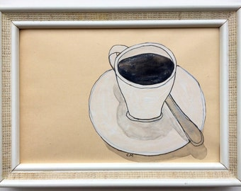 """little original-drawing """"coffeetime"""", signed and framed"""
