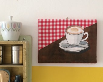 Coffeetime - red, textile on canvas, acrylic painting, coffee, cappuccino