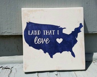 Rustic America Land that I Love painted wall art