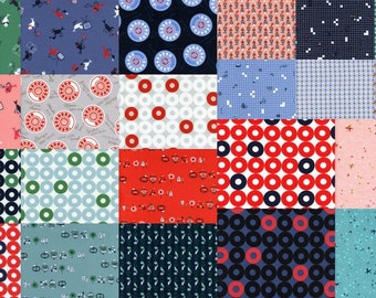 Fat Quarters (22) ROTARY CLUB by Kim Kight  From Cotton and Steel Fat Quarter Bundle