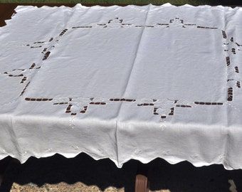 """White embroider and open work card table bridge cloth tablecloth tea cloth 47"""" x 47"""""""