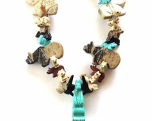 Tribal Necklace - Animal Figurine Necklace - Turtle -Bird - Fox - Bear - hippopotamus- crocodile - Statement Necklace - Gift For Her