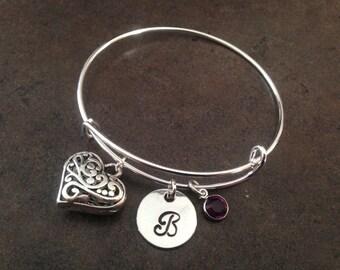 Heart Charm Bracelet, Initial Charm Bangle, Personalized Bracelet, Monogram, Hand Stamped Jewelry, Valentine's Day Gift , Alex and Ani,
