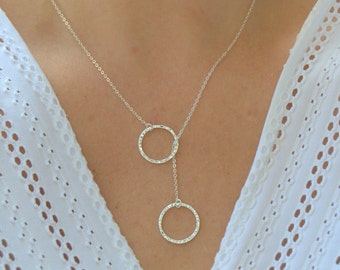 circle lariat necklace, hammered ring necklace, texture circle necklace, sterling silver lariat necklace, gift for her, two circles necklace