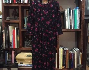 vintage  Lanz dress / floral dress / fall dress / dress 4 / black floral dress
