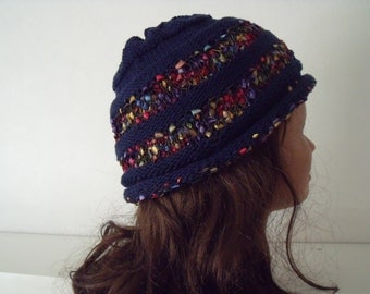 Dark blue cotton summer hat with courses of confetti yarn